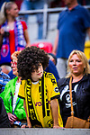 09.08.2019, Merkur Spiel-Arena, Düsseldorf, GER, DFB Pokal, 1. Hauptrunde, KFC Uerdingen vs Borussia Dortmund , DFB REGULATIONS PROHIBIT ANY USE OF PHOTOGRAPHS AS IMAGE SEQUENCES AND/OR QUASI-VIDEO<br /> <br /> im Bild | picture shows:<br /> junger BVB Fan mit Axel Witsel (Borussia Dortmund #28) Peruecke, <br /> <br /> Foto © nordphoto / Rauch