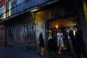 Guests arrive at  Preservation Hall for Sean Yseult and Chris Lee's wedding in New Orleans, Saturday, Jan. 12, 2008.