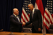 United States President Barack Obama holds a bilateral meeting with Prime Minister Haider al-Abadi of the Republic of Iraq at Un Headquarters in New York, New York on Wednesday, September 24, 2014.<br /> Credit: Allan Tannenbaum / Pool via CNP