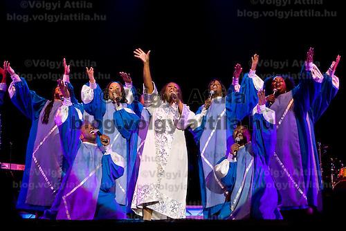 Harlem Gospel Singers' choir performs during their pre Christmas concert.