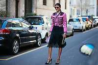 Giovanna Battaglia at Milan Fashion Week (Photo by Hunter Abrams/Guest of a Guest)