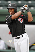 Outfielder DeSean Anderson (42) of the South Carolina Gamecocks prior to a game against the Clemson Tigers on Tuesday, March 8, 2011, at Fluor Field in Greenville, S.C.  Photo by Tom Priddy / Four Seam Images