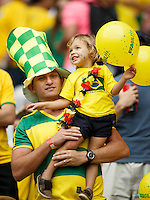 A dad and son are fans of Brazil