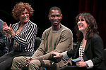 "Left to right, Gloria ""Mama Gloria"" Allen, retired nurse and a trans-community activist in Chicago, Tarell Alvin McCraney, playwright of ""Wig Out!"" and Oscar award winning playwright and screenwriter for ""Moonlight,"" and Lisa Portes, head of Directing at The Theatre School, talk with students, faculty and staff from the set of ""Wig Out!"" on the Fullerton Stage in The Theatre School building, Friday, April 21, 2017. (DePaul University/Jeff Carrion)"