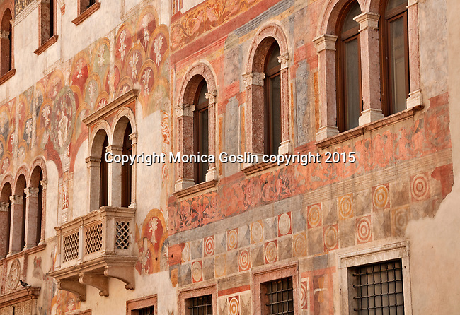 Alberti Colico Palace with 15th century frescos on the façade in Trento, Italy