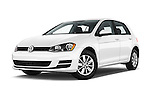 Stock pictures of low aggressive front three quarter view of 2017 Volkswagen Golf S 5 Door Hatchback Low Aggressive