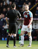 Burnley's Ashley Barnes remonstrates with Referee Christopher Kavanagh<br /> <br /> Photographer Rich Linley/CameraSport<br /> <br /> The Premier League - Burnley v Wolverhampton Wanderers - Saturday 30th March 2019 - Turf Moor - Burnley<br /> <br /> World Copyright © 2019 CameraSport. All rights reserved. 43 Linden Ave. Countesthorpe. Leicester. England. LE8 5PG - Tel: +44 (0) 116 277 4147 - admin@camerasport.com - www.camerasport.com