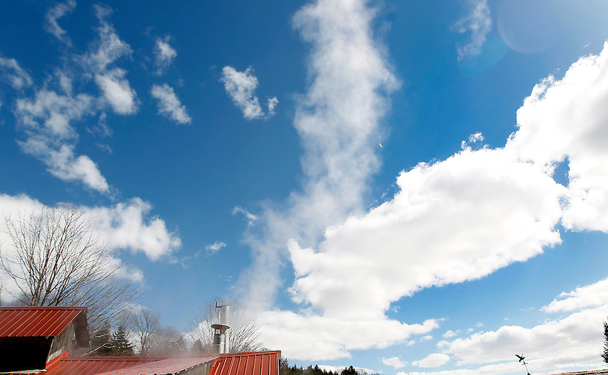 Wood smoke pours into the sky at the Morse Farm in Montpelier, VT, Tuesday, March 26, 2013.  (Cheryl Senter for the New York Times)