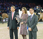 DR. Simon S O Ip, Chairman of The Hong Kong Jockey Club. Mr. Michel Lee, President Hong Kong Equestrian Federation.  The Hong Kong Jockey Club Trophy during the Longines Masters of Hong Kong on 19 February 2016 at the Asia World Expo in Hong Kong, China. Photo by Moses Ng / Power Sport Images