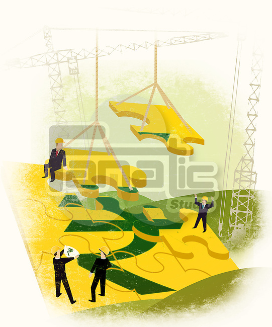 Businessmen constructing a money building
