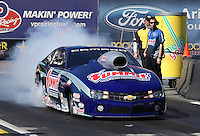 Feb. 22, 2013; Chandler, AZ, USA; NHRA pro stock driver Jason Line during qualifying for the Arizona Nationals at Firebird International Raceway. Mandatory Credit: Mark J. Rebilas-