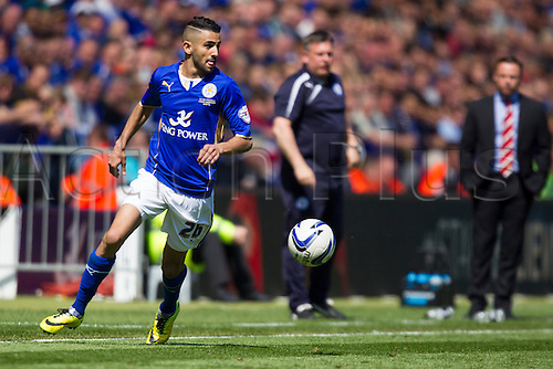 03.05.2014.  Leicester, England. Riyad MAHREZ (Leicester City) on the ball during the FA Championship match between Leicester City and Doncaster Rovers at The King Power Stadium.