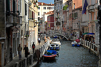 Michael McCollum.6/9/11.Foot traffic along one of the smaller canals in Venice, Italy.