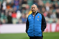 England Rugby Head Coach Eddie Jones looks on during the pre-match warm-up. Guinness Six Nations match between England and Italy on March 9, 2019 at Twickenham Stadium in London, England. Photo by: Patrick Khachfe / Onside Images