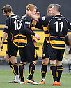 Ryan McCord (8) celebrates after he scores Alloa's third.