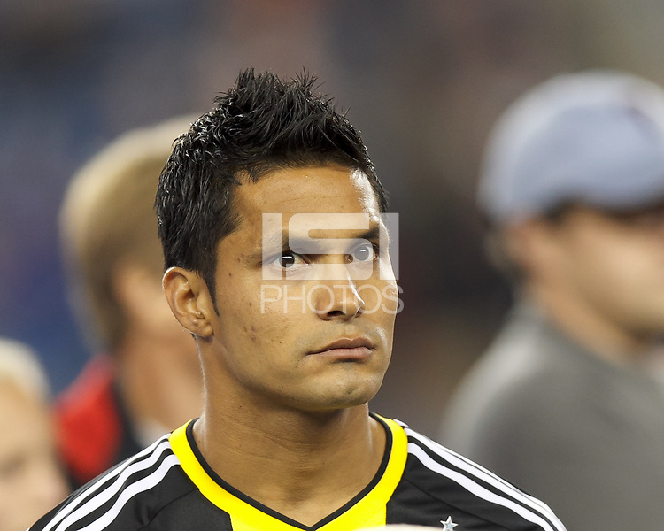 Columbus Crew forward Jairo Arrieta (25). In a Major League Soccer (MLS) match, the New England Revolution (blue) defeated Columbus Crew (white), 3-2, at Gillette Stadium on October 19, 2013.