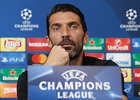 Calcio, Champions League: Juventus vs Siviglia, conferenza stampa Juventus. Torino, Juventus Stadium, 13 settembre 2016.<br /> Juventus&rsquo; goalkeeper Gianluigi Buffon attends a press conference ahead of the Group H Champions League football match against Sevilla, at the Juventus stadium, 13 September 2016.<br /> UPDATE IMAGES PRESS/Isabella Bonotto
