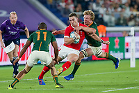 27th October 2019, Oita, Japan;  George North of Wales tackled by Pieter-Steph du Toit of South Africa during the 2019 Rugby World Cup semi-final match between Wales and South Africa at International Stadium Yokohama in Kanagawa, Japan on October 27, 2019.  - Editorial Use
