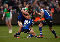 Harlequins' Jack Clifford is tackled by Bath Rugby's Max Green<br /> <br /> Photographer Bob Bradford/CameraSport<br /> <br /> Premiership Rugby Cup Round 1 - Bath Rugby v Harlequins - Saturday 27th October 2018 - The Recreation Ground - Bath<br /> <br /> World Copyright © 2018 CameraSport. All rights reserved. 43 Linden Ave. Countesthorpe. Leicester. England. LE8 5PG - Tel: +44 (0) 116 277 4147 - admin@camerasport.com - www.camerasport.com