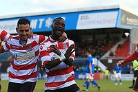 Dan Hector of Kingstonian celebrates scoring the opener during Macclesfield Town vs Kingstonian, Emirates FA Cup Football at the Moss Rose Stadium on 10th November 2019
