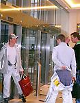 Motorsport: DTM Vorstellung  2008 Duesseldorf<br /> <br /> Ralf Schumacher mit Shoppingtasche am Aufzug im  Hotel Intercontinental in Duesseldorf.<br /> <br /> <br /> Foto &copy; nph (nordphoto)