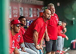 16 August 2017: Los Angeles Angels designated hitter Albert Pujols looks out from the dugout during a game against the Washington Nationals at Nationals Park in Washington, DC. The Angels defeated the Nationals 3-2 to split their 2-game series. Mandatory Credit: Ed Wolfstein Photo *** RAW (NEF) Image File Available ***