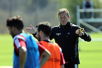 SWANSEA, WALES - APRIL 22: Manager Garry Monk shouts instructions to his players during the Swansea City Training Session at Fairwood Training Centre on April 22, 2015 in Swansea, Wales.