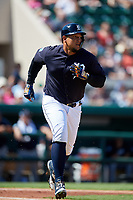 Detroit Tigers first baseman Miguel Cabrera (24) runs to first base during a Grapefruit League Spring Training game against the Atlanta Braves on March 2, 2019 at Publix Field at Joker Marchant Stadium in Lakeland, Florida.  Tigers defeated the Braves 7-4.  (Mike Janes/Four Seam Images)