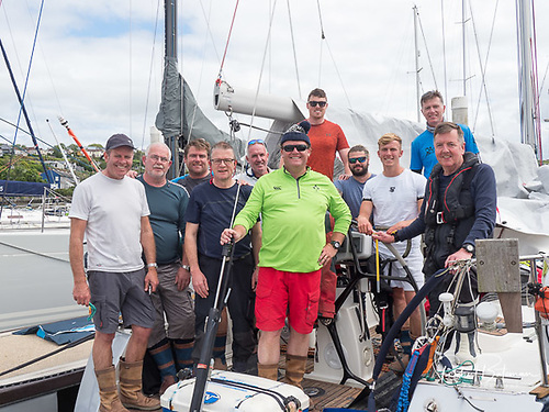 Tom Roche's Meridian Crew return to the Kinsale dock afte the race. Among the Meridian crew (pictured right) is Vice Admiral Mark Mellett, DSM, the current Chief of Staff of Ireland's Defence Forces Photo: Bob Bateman