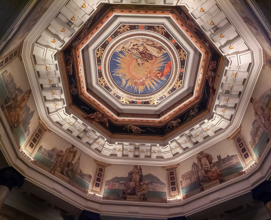 Restored Ceiling Above The Main Entrance To The Building On The Shanghai Bund.