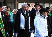 Montreal's St-Patrick's 185th parade, held in downtown Montreal on March 22nd 2009. Gilles Duceppe leader of the Bloc Quebecois and Gerald Tremblay mayor of Montreal, surrounded by security march in the parade