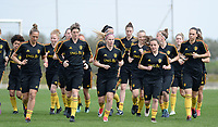 20180304 - LARNACA , CYPRUS :  Belgian Maud Coutereels , Aline Zeler , Jana Coryn , Davina Philtjens and Jassina Blom (r) pictured during a Matchday -1 training from The Belgian Red Flames prior to their game against Austria , on Sunday 4 March 2018 at the Alpha Sports Grounds in Larnaca , Cyprus . This will be the third game in group B for Belgium during the Cyprus Womens Cup , a prestigious women soccer tournament as a preparation on the World Cup 2019 qualification duels. PHOTO SPORTPIX.BE | DAVID CATRY