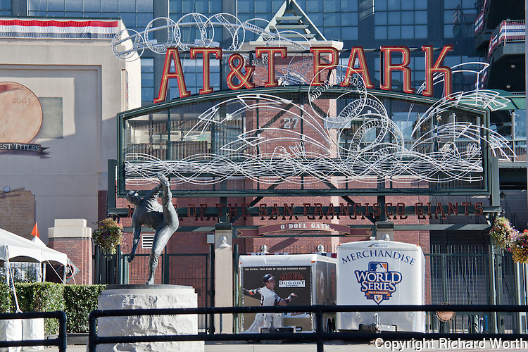 Trailers parked in front of AT&T Park suggest plans for at least one more game - a game that didn't happen when the Giants won the World Series 'away'.