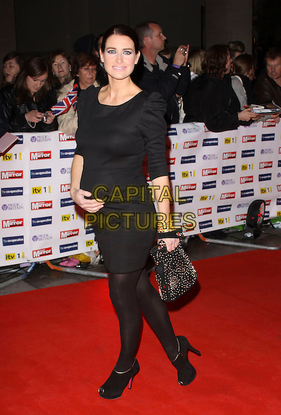KIRSTY GALLACHER .Attending the Pride Of Britain Awards 2009, Grosvenor House, London, England, UK, October 5th 2009..arrivals full length black dress tights pregnant maternity bag studded Reiss ankle boots studs booties shooboots shoe .CAP/AH.©Adam Houghton/Capital Pictures.