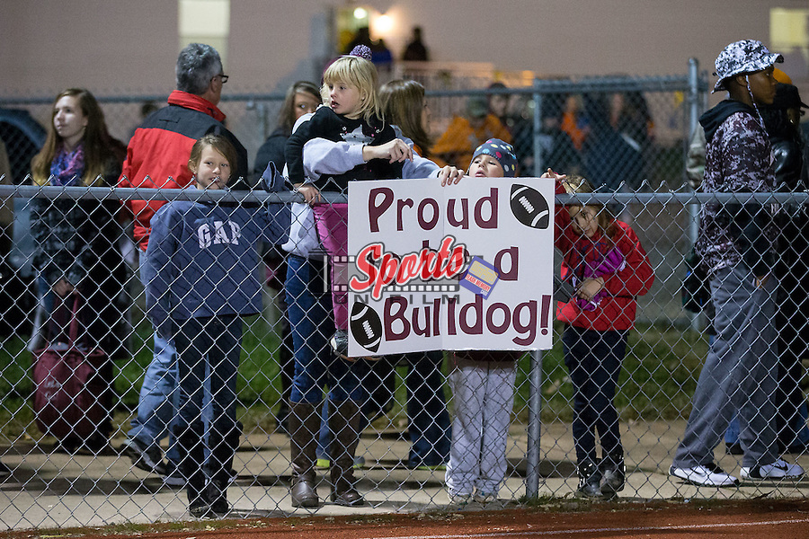 A young fan shows her support for the JM Robinson Bulldogs as they took on the South Iredell Vikings in the second round of the 2015 NCHSAA 2A State Playoffs at South Iredell High School November 20, 2015, in Statesville, North Carolina.  The Vikings defeated the Bulldogs 14-13.  (Brian Westerholt/Special to the Tribune)