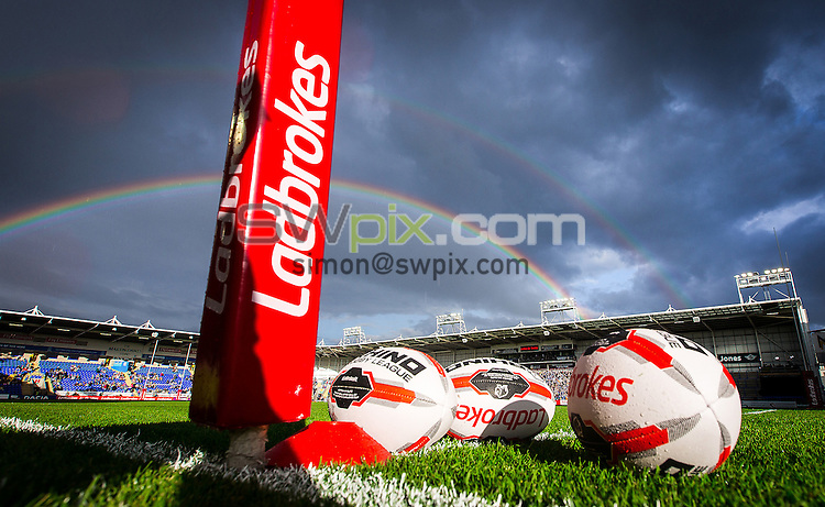 Picture by Alex Whitehead/SWpix.com - 24/06/2016 - Rugby League - Ladbrokes Challenge Cup - Warrington Wolves v Widnes Vikings - Halliwell Jones Stadium, Warrington, England - Ball, rainbow.