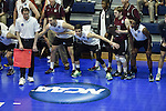 27 APR 2014: Members of the Springfield College men's volleyball team reacts during the Division III Men's Volleyball Championship held at the Kennedy Sports Center in Huntingdon, PA. Springfield defeated Juniata 3-0 to win the national title.  Mark Selders/NCAA Photos