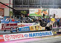 Oct 28, 2016; Las Vegas, NV, USA; NHRA top fuel driver Morgan Lucas during qualifying for the Toyota Nationals at The Strip at Las Vegas Motor Speedway. Mandatory Credit: Mark J. Rebilas-USA TODAY Sports