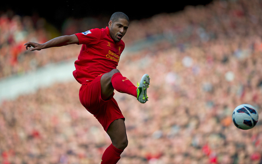 Liverpool's Glen Johnson ..Football - Barclays Premiership - Liverpool v Stoke City - Sunday 7th October 2012 - Anfield - Liverpool..