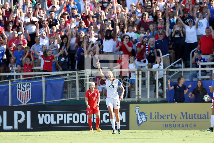 Cary, NC - Sunday October 22, 2017: Allie Long celebrates her goal during an International friendly match between the Women's National teams of the United States (USA) and South Korea (KOR) at Sahlen's Stadium at WakeMed Soccer Park. The U.S. won the game 6-0.