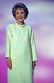Former first lady Nancy Reagan speaks at the 1996 Republican National Convention at the San Diego Convention Center in San Diego, California on August 12, 1996.  <br /> Credit: Ron Sachs / CNP