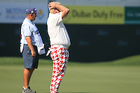 John Daly (USA) misses his birdie putt on the 18th green during Sunday's Final Round of the 2012 Omega Dubai Desert Classic at Emirates Golf Club Majlis Course, Dubai, United Arab Emirates, 12th February 2012(Photo Eoin Clarke/www.golffile.ie)