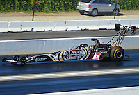 Nov. 10, 2012; Pomona, CA, USA: NHRA top fuel dragster driver Shawn Langdon during qualifying for the Auto Club Finals at at Auto Club Raceway at Pomona. Mandatory Credit: Mark J. Rebilas-