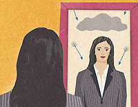 Woman looking at negative self image in mirror ExclusiveImage