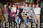Member's of the Old Reserve golf society at their annual after tournament Dinner and Prize giving at the  Greyhound bar, Tralee on Saturday. Pictured front l-r Aidan O'Connor, Greyhound Bar, Mike Leahy, Captain, Claude O'Connor, Golfer of the year, Dermot Falvey, Match play winner, Back l-r Damien Greer, Robert Miller, Padraig Teahan, Tom Egan, P.J. Murphy, Richie Rohan, Declan O Carroll, Mike Barry, President, J P Fletton, John O'Connell, Vice Captain