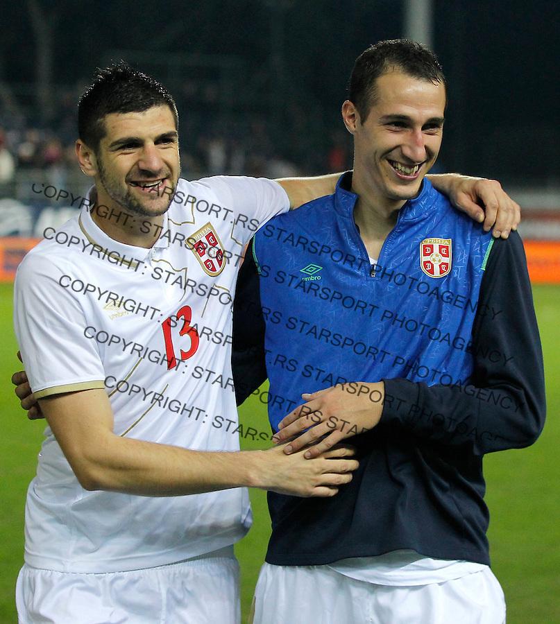 Fudbal<br /> Prijateljski mec-Friendly match<br /> Srbija v Grcka<br /> Radosav Petrovich (R) celebrate with the Stefan Mitrovic (L) <br /> Chania, 18.11.2014.<br /> foto: Srdjan Stevanovic/Starsportphoto &copy;