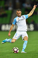 Melbourne, 23 April 2017 - IVAN FRANJIC (5) of Melbourne City kicks the ball in the Elimination Final 2 of the A-League between Melbourne City and Perth Glory at AAMI Park, Melbourne, Australia. Perth won 2-0. Photo Sydney Low/sydlow.com