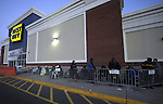 (Boston Ma 112312) About fifty people wait outside the Best Buy at South  Bay Center in Boston around 5pm Thanksgiving,  the people at the front of the line set up camp at 9pm Wednesday night. (Jim Michaud Photo)