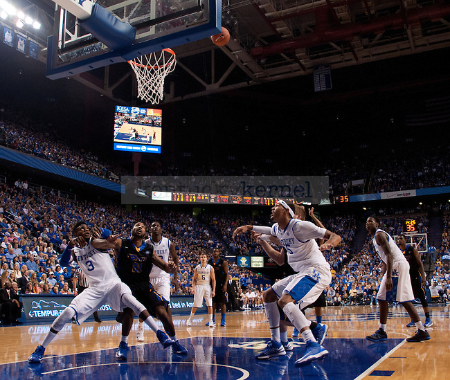 Freshman Nerlens Noel and Willie Cauley-Stein box out on a free throw during the second half of the UK Men's Basketball game against Morehead State at Rupp Arena in Lexington, Ky., on Wednesday, November. 21, 2012..