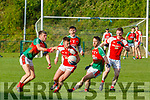 Kevin McCarthy, Kilcummin, tackles Brendan O'Keeffe, Rathmore, during their relegation play-off in Killarney on Saturday.Kevin McCarthy, Kilcummin, tackles Brendan O'Keeffe, Rathmore, during their relegation play-off in Killarney on Saturday.